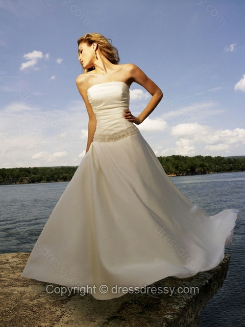 A-line Strapless Satin Floor-length Ruched Wedding Dresses